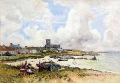 Coastal Scene with Village and Figures | Robert Weir Allan | Oil Painting