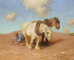 A Team of Plough Horses with a Figure | Robert Weir Allan | Oil Painting