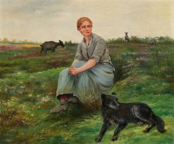 A Goatherd and Her Dog | variste Carpentier | Oil Painting