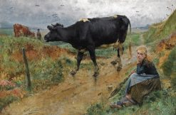 A Shepherdess and Her Cow | variste Carpentier | Oil Painting