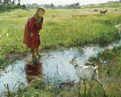 Girl with Goat | variste Carpentier | Oil Painting
