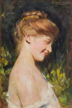 Laughing Blond Beauty with Bared Shoulder | Léon-François Comerre | Oil Painting