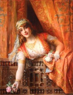 An Oriental Beauty with Roses | Léon-François Comerre | Oil Painting