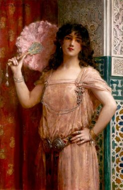 An Oriental Beauty Hoding a Pink Fan | Léon-François Comerre | Oil Painting