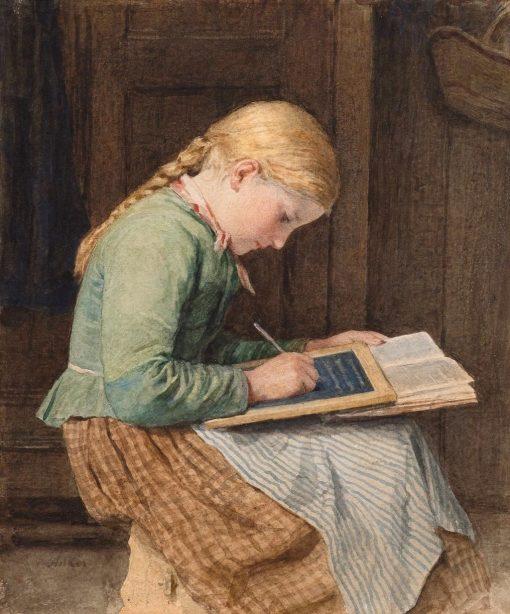 Writing Girl   Albert Anker   Oil Painting