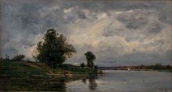 Moonlit River Scene | Hippolyte-Camille Delpy | Oil Painting