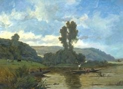 Riverscape with Fishermen | Hippolyte-Camille Delpy | Oil Painting