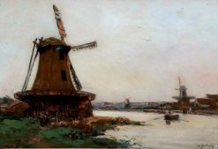 River Landscape with Windmills | Hippolyte-Camille Delpy | Oil Painting