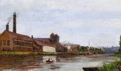 River Landscape with Industrial Plant | Hippolyte-Camille Delpy | Oil Painting