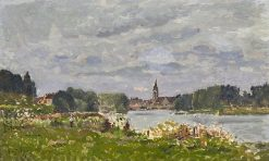 Summer River with Village | Hippolyte-Camille Delpy | Oil Painting