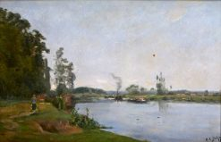Stroller by a River with a Barge | Hippolyte-Camille Delpy | Oil Painting