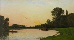 Boat on the River | Hippolyte-Camille Delpy | Oil Painting