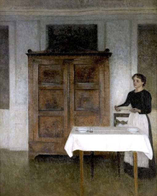 Girl Setting the Table | Vilhelm Hammershøi | Oil Painting
