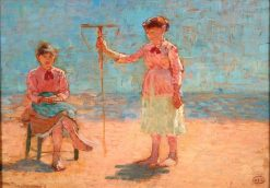 Two Girls with Net on the Beach | Henri-Edmond Cross | Oil Painting