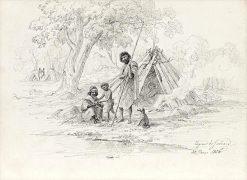 Aboriginal Family Group | Eugene Von Guerard | Oil Painting