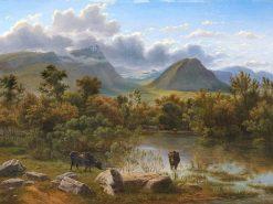 View Tamerinden At Paestum Marshes | Eugene Von Guerard | Oil Painting