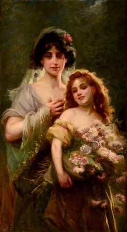 Portrait of Mother and Daughter with Flowers | Cesare Augusto Detti | Oil Painting
