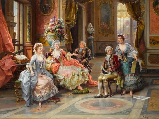 An Elegant Gathering   Cesare Augusto Detti   Oil Painting