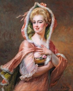 Young Woman in Fur Trimmed Cape | Cesare Augusto Detti | Oil Painting