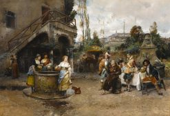 A Conversation at the Well | Cesare Augusto Detti | Oil Painting