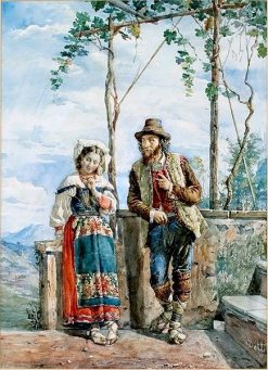 An Italian Peasant Couple | Cesare Augusto Detti | Oil Painting
