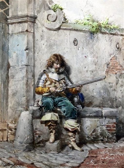 Soldier with a Matchlock Rifle | Cesare Augusto Detti | Oil Painting