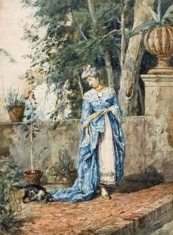 Woman in a Blue Dress | Cesare Augusto Detti | Oil Painting