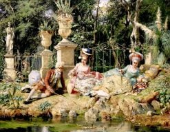 The Fishing Party | Cesare Augusto Detti | Oil Painting