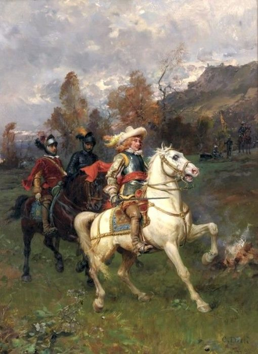 A Cavalier with Mounted Soldiers | Cesare Augusto Detti | Oil Painting