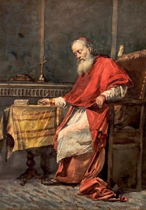 Cardinal Writing | Cesare Augusto Detti | Oil Painting