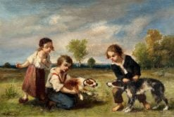 Children Playing with Dogs | Narcisse Dìaz de la Peña | Oil Painting