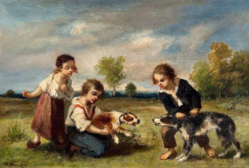 Children Playing with Dogs | Narcisse Dìaz de la Peña | Oil Painting