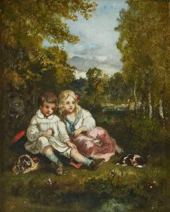 Two Children and their Dogs in the Forest of Fontainebleau | Narcisse Dìaz de la Peña | Oil Painting