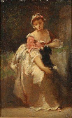 Young Woman with a Dog | Narcisse Dìaz de la Peña | Oil Painting