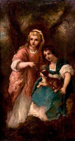 Two Little Girls with a Dog | Narcisse Dìaz de la Peña | Oil Painting