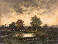 Landscape with Peasant Woman and Pond   Narcisse Dìaz de la Peña   Oil Painting