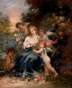 Woman with Putti in a Forest | Narcisse Dìaz de la Peña | Oil Painting
