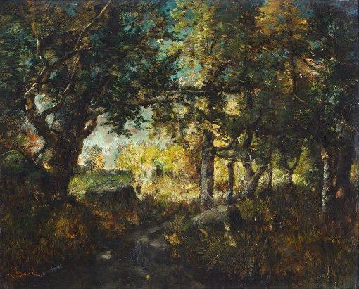 A Wooded River Landscape   Narcisse Dìaz de la Peña   Oil Painting