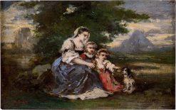 Mother with Her Children   Narcisse Dìaz de la Peña   Oil Painting