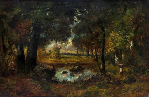 A Figure and a Dog by a Pool in a Woodland Clearing | Narcisse Dìaz de la Peña | Oil Painting