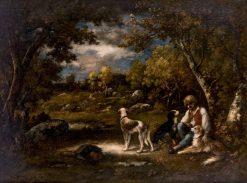 Boy with His Dogs in a Wood   Narcisse Dìaz de la Peña   Oil Painting