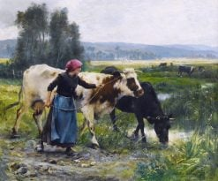 Young Peasant Woman with Two Cows | Julien Dupré | Oil Painting