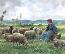Shepherdess and Sheep | Julien Dupré | Oil Painting
