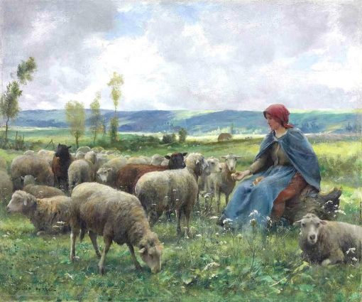 Shepherdess and Sheep   Julien Dupré   Oil Painting