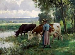 Cows at the Watering Place | Julien Dupré | Oil Painting