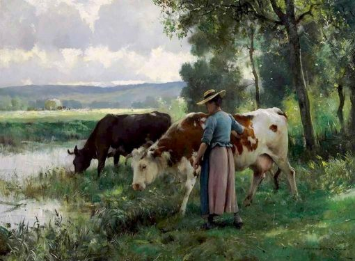 Cows at the Watering Place   Julien Dupré   Oil Painting
