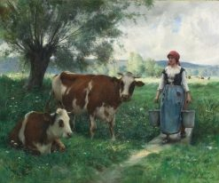 A Milkmaid with Her Cows at Pasture | Julien Dupré | Oil Painting
