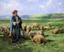 A Young Shepherdess Watching over Her Flock | Julien Dupré | Oil Painting