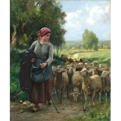 Shepherdess and her Flock | Julien Dupré | Oil Painting
