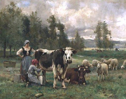 Milkmaids in the Pasture   Julien Dupré   Oil Painting